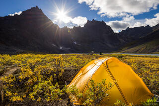 Canada, Grizzly Lake, Tombstone Territorial Park, Yukon, tent, Tombstone Range