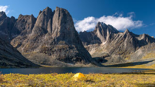 Canada, Divide Lake, Tombstone Territorial Park, Yukon, tent, Tombstone Range