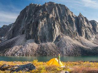 Canada, Talus Lake, Tombstone Territorial Park, Yukon, tent, Tombstone Range