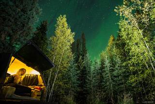 Canada, Dawson, Yukon, aurora, truck