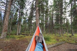 Alberta, Canada, Jasper, Snaring River Campground, hammock