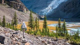 British Columbia, Canada, Mount Robson Provincial Park, BC, Mist Glacier, Robson River, hiking