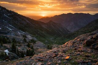 Lake Blanche, Twin Peaks Wilderness, Utah, Wasatch Range, sunset, Big Cottonwood Canyon