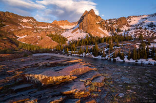 Lake Blanche, Sundial Peak, Twin Peaks Wilderness, Utah, Wasatch Range, sunset
