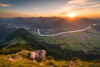 Austria, Kaisergebirge, Naunspitze, sunset, Inn River, Kufstein
