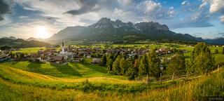 Austria, Ellmau, Kaisergebirge, Wilder Kaiser, sunset, panorama