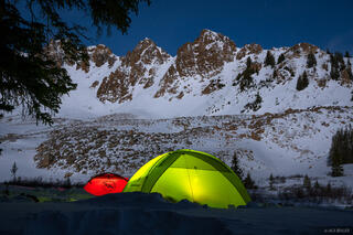 Colorado, Elk Mountains, moonlight, tent, Little Italian Pass, January