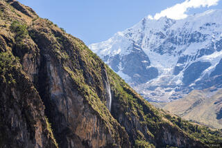 Cordillera Vilcabamba, Nevado Tucarhuay, Peru, South America, waterfall