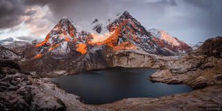 Ausangate, Cordillera Vilcanota, Lago Uchuy Pucacocha, Peru, South America, sunset, panorama