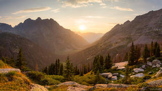 Colorado, Needle Mountains, San Juan Mountains, Weminuche Wilderness, Animas Mountain, panorama, sunset