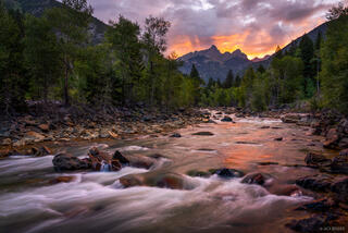 Animas River, Colorado, Needle Mountains, Pigeon Peak, San Juan Mountains, Turret Peak, Weminuche Wilderness, sunrise