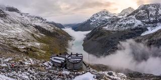 Bernina Range, Chamanna Coaz, Lej de Vadret, Rhaetian Alps, Switzerland, Val Roseg, hut