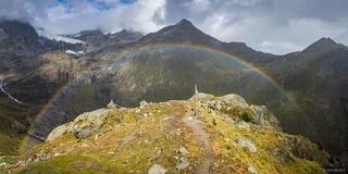 Bernina Range, Italy, Rhaetian Alps, rainbow, Fellaria Glacier
