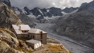Bernina Range, Capanna del Forno, Forno Glacier, Rhaetian Alps, Switzerland, Vadret de Forno, hut