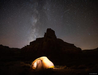 Chimney Canyon, San Rafael Swell, Utah, stars, tent