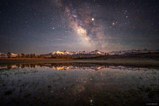 Colorado, San Juan Mountains, Sneffels Range, Milky Way, moonset, Mount Sneffels, May