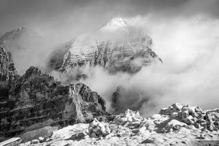 Dolomites, Italy, Lagazuoi, Tofana de Rozes, bw, October, Alps