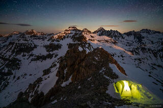 Colorado, San Juan Mountains, Sneffels Range, moonlight, tent, stars, Mount Sneffels