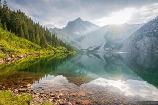 Colorado, Elk Mountains, Maroon Bells Snowmass Wilderness, Snowmass Lake, Snowmass Mountain