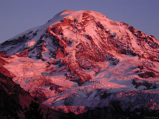 Mt. Rainier, alpenglow, Washington, Cascades, rugged