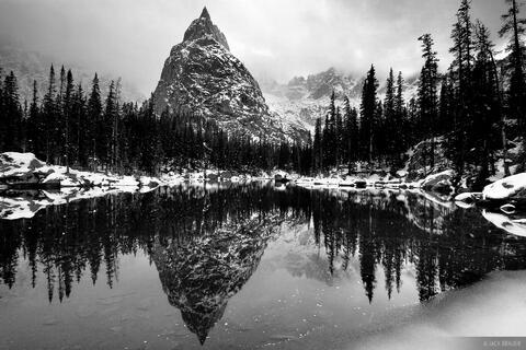 Lone Eagle Peak Reflection B/W