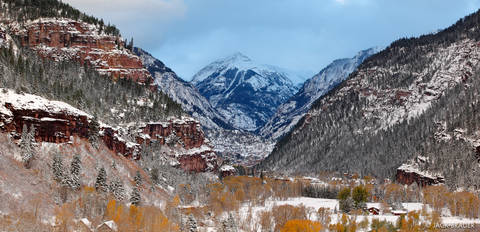 Ouray Snowy Autumn Panorama