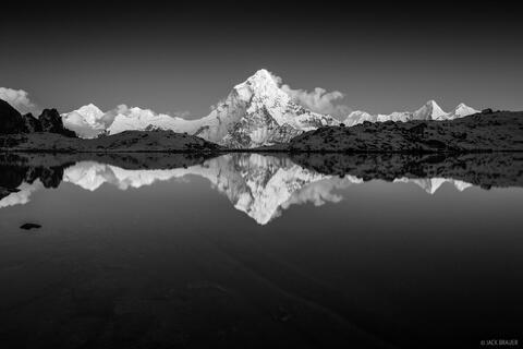 Ama Dablam Alpenglow Reflection B&W
