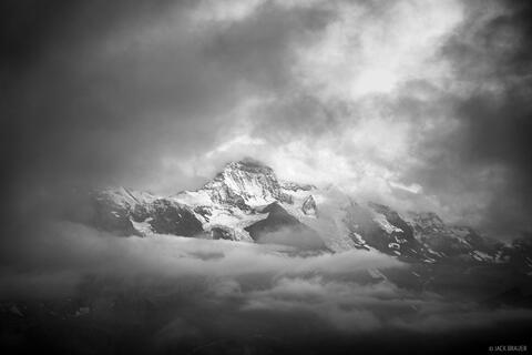 Jungfrau in the Clouds BW