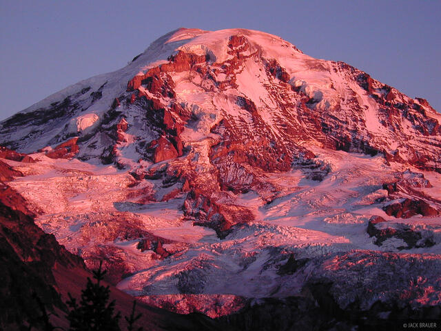 Mt. Rainier, alpenglow, Washington, Cascades, rugged