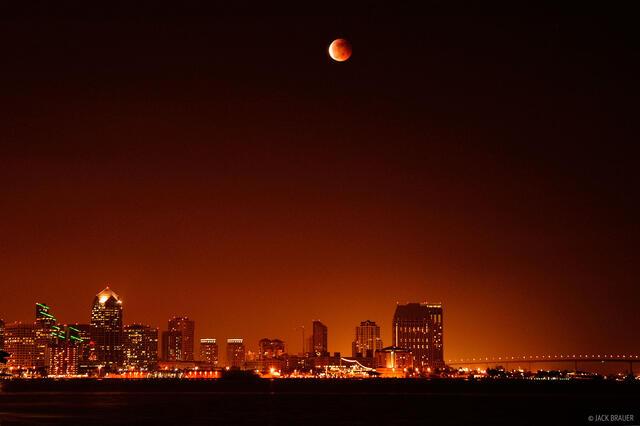 lunar eclipse, downtown, San Diego, California