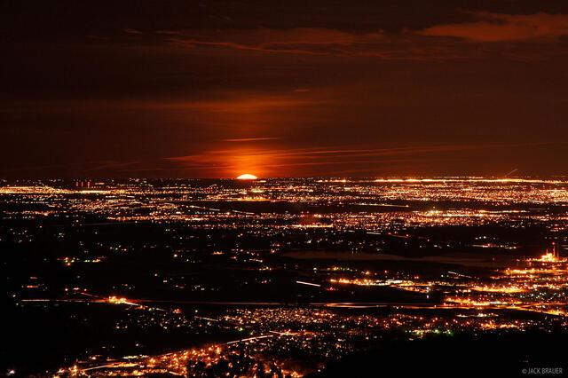 Moonrise, city lights, Denver, Colorado, march, winter