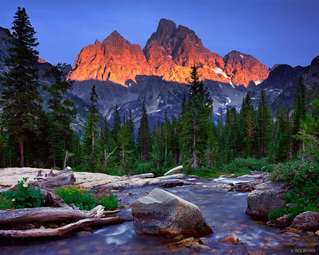Grand Teton, Mount Owen, sunset, alpenglow, Wyoming