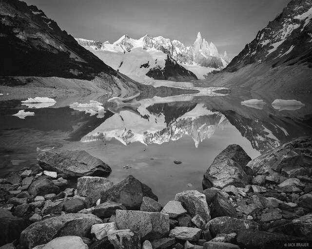 Argentina, Cerro Torre, South America, black & white, Patagonia