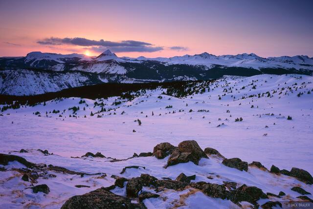 Engineer Mountain, winter, sunset, San Juan Mountains, Colorado