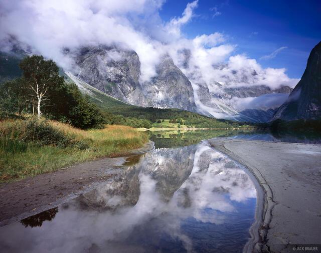 Trollveggen, clouds, Romsdalen, Norway