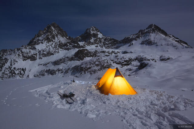 Hurricane Pass, Tetons, Wyoming, camp, night