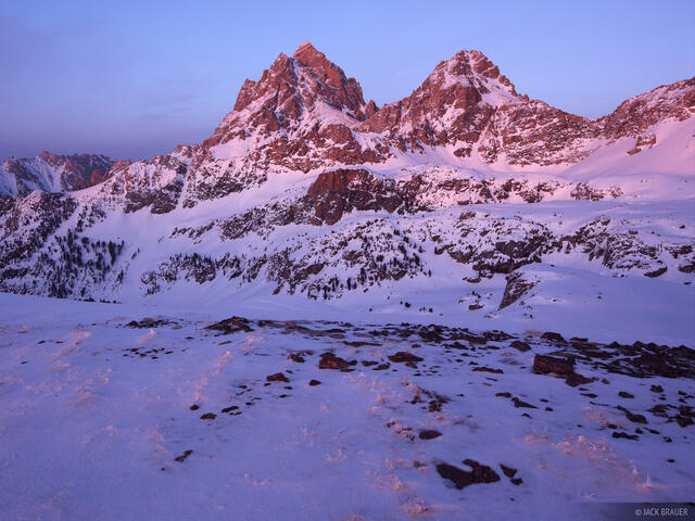alpenglow, Tetons, Wyoming, winter, sunset, hurricane pass, Grand Teton National Park, Grand Teton
