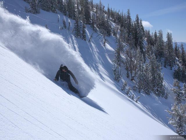 Teton Pass, snowboarding, powder, Jackson Hole, Wyoming, bluebird