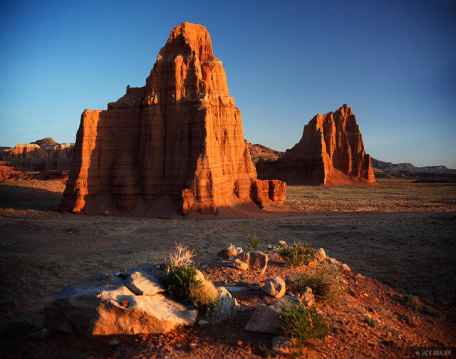 Temple of the Moon, Temple of the Sun, Lower Cathedral Valley, Capitol Reef National Park, Utah, sunrise