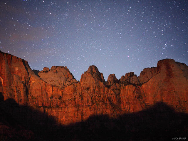 Three Virgins, Zion National Park, Utah, moonlight