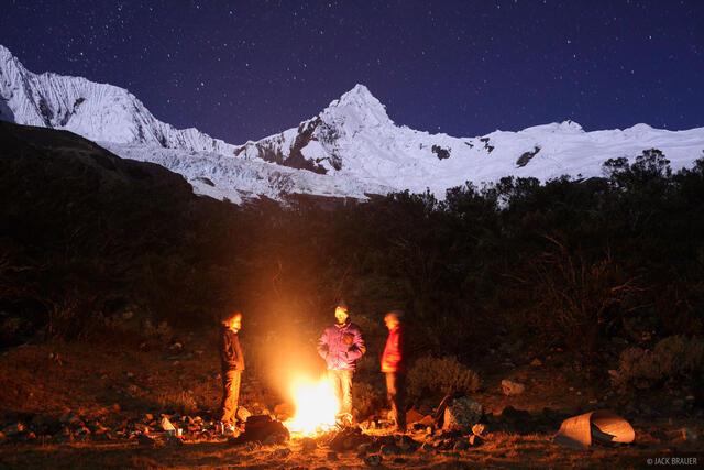 Nevado Tullparaju, Cordillera Blanca, Peru, campfire
