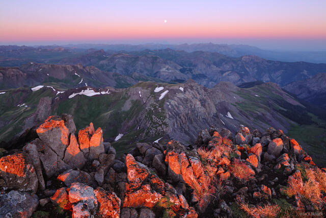 Wetterhorn Peak, sunrise, summit, San Juan Mountains, Colorado, earthshadow