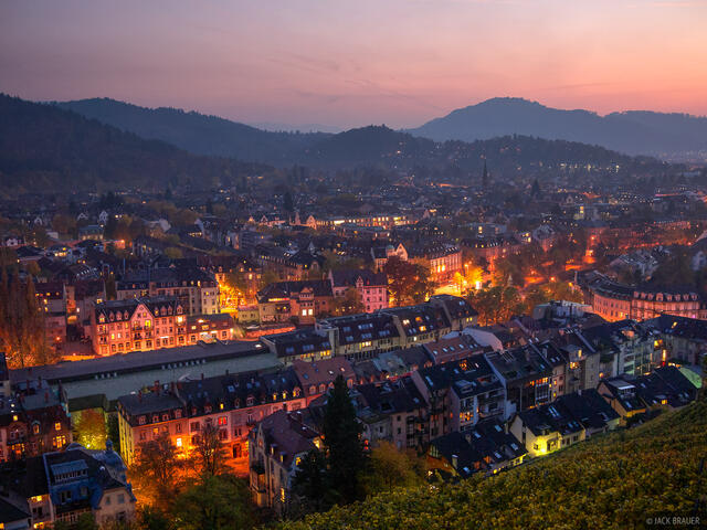 Freiburg, Germany, city, lights, dusk