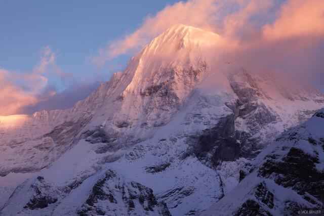 Mönch, Mürren, Bernese Alps, Switzerland, sunset