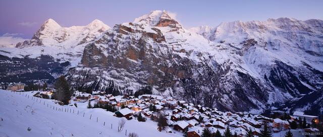 Mürren, Jungfrau, Eiger, Mönch, Jungfrau, Bernese Alps, Switzerland, panorama