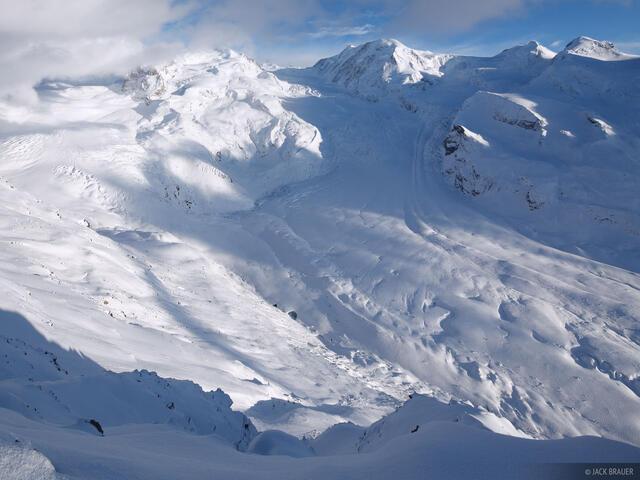 Gornergletscher, MonteRosa, glacier, Gornergrat, Zermatt, Switzerland, Pennine