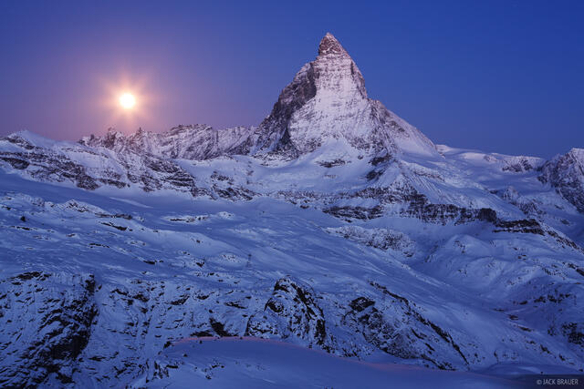 Matterhorn, moon, Zermatt, Switzerland, Cervino, Pennine