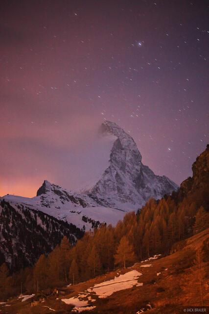 Matterhorn, Zermatt, Switzerland, stars, Pennine
