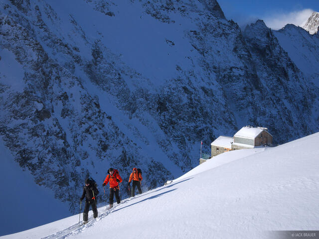 hollandiahutte, skiing, Bernese Oberland, Switzerland, skinning