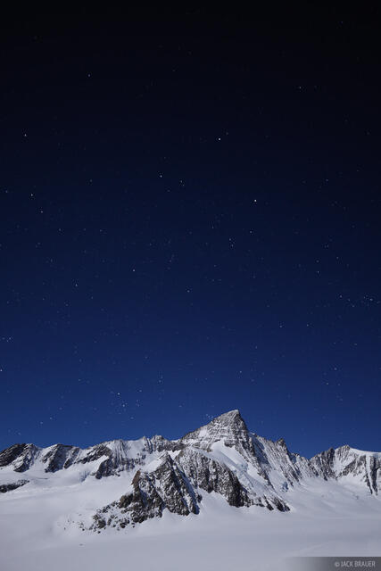 Grünhorn, moonlight, Bernese Oberland, Switzerland